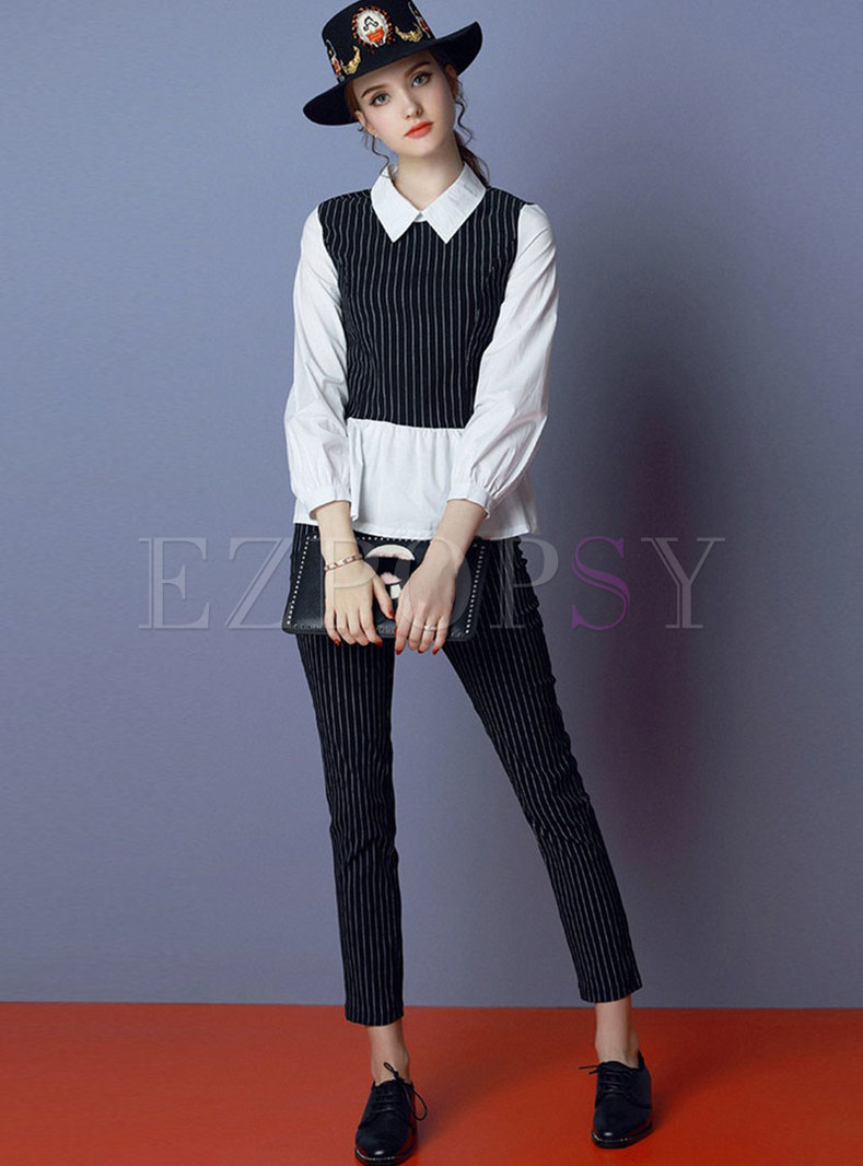 Striped Splicing Lapel Slim Blouse & Striped Pencil Pants