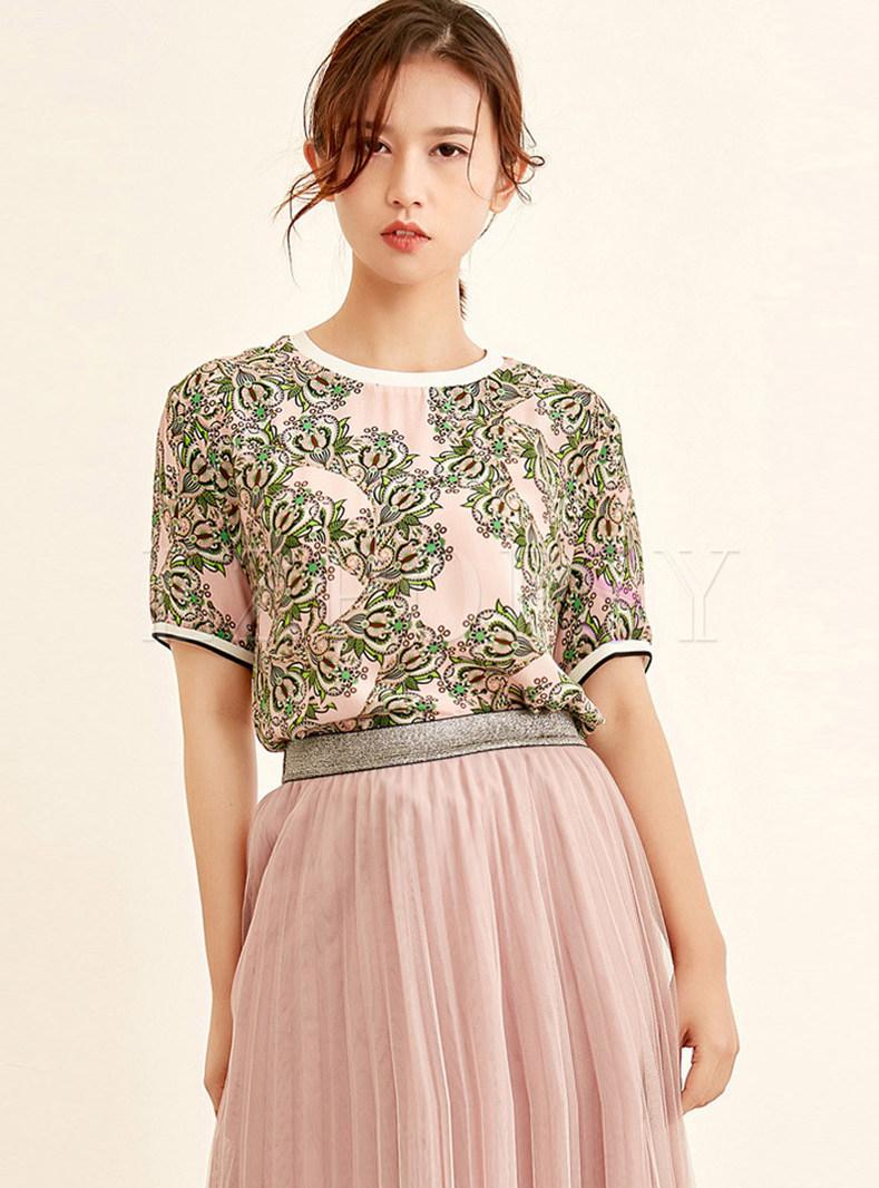 Print O-neck Short Sleeve Silk Pullover T-shirt