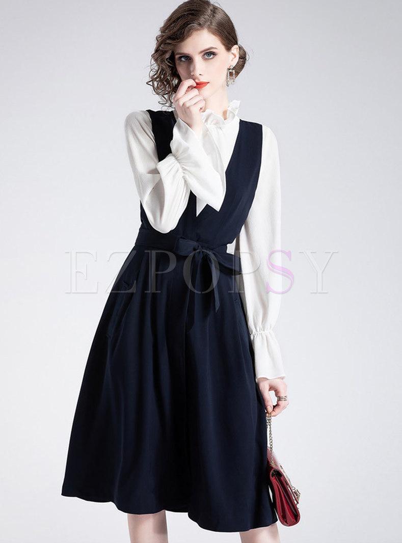 White Ruffled Collar Flare Sleeve Blouse & V-neck Sleeveless Tie-waist Skater Dress