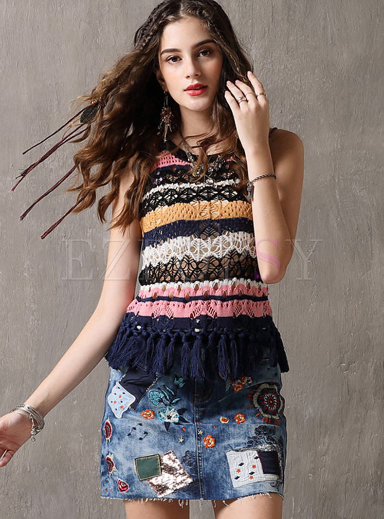 Color-blocked O-neck Sleeveless Tassel Knitted Camis