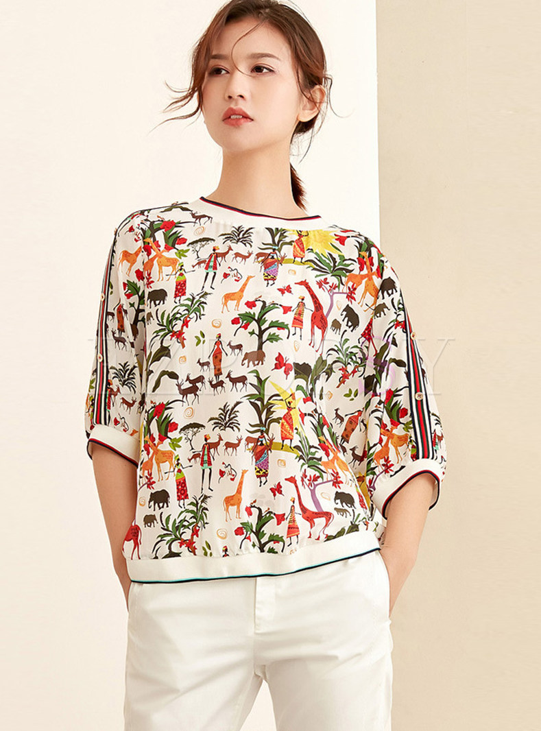Loose O-neck Pullover Print Silk T-Shirt