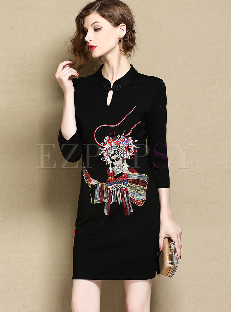 Vintage Embroidered Stand Collar Sheath Mini Dress