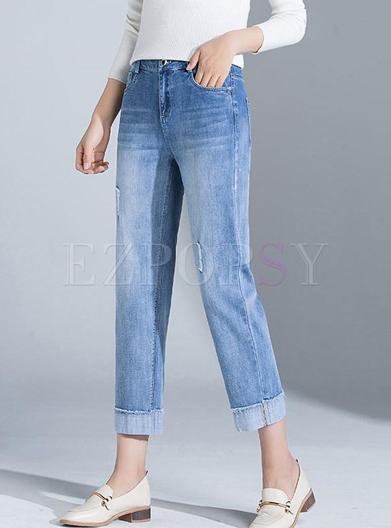Stylish High Waist Slim Straight Pants