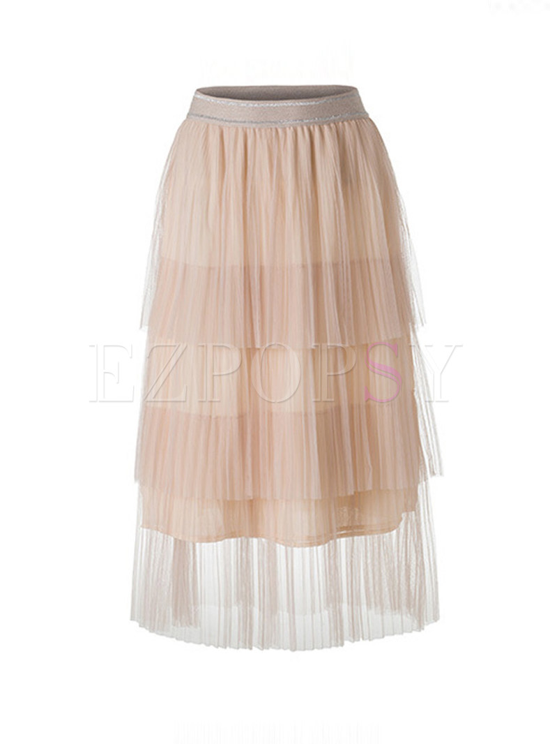 Sweet High Waist Mesh Pleated Skirt