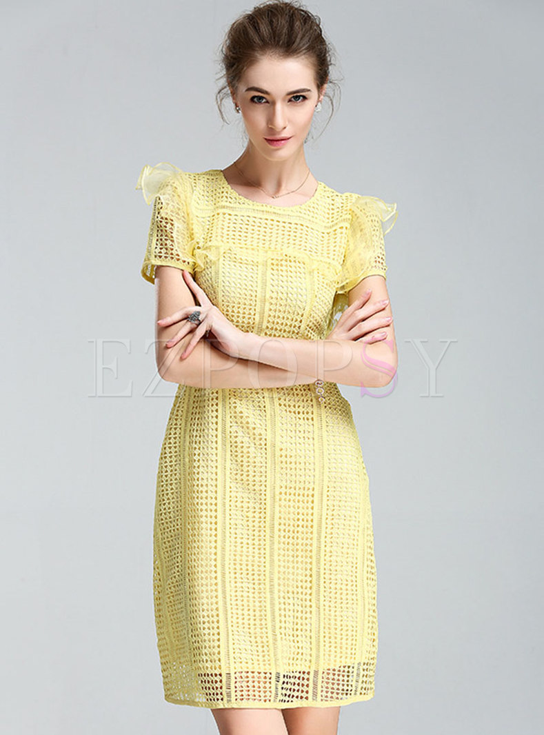 Pure Color O-neck High Waist Skater Dress