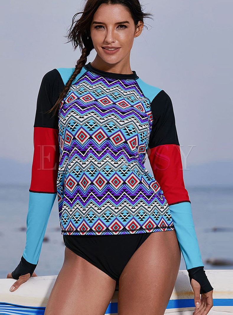 O-neck Long Sleeve Print Pullover Swimwear