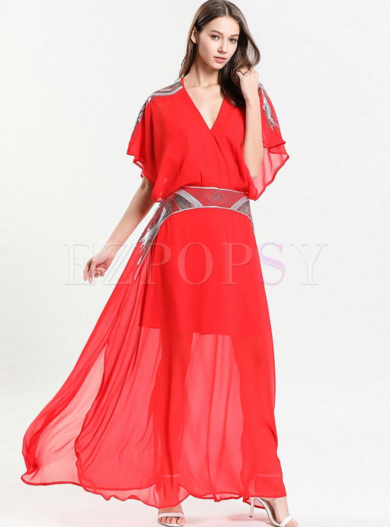 V-neck Plus Size Waist Chiffon Maxi Dress