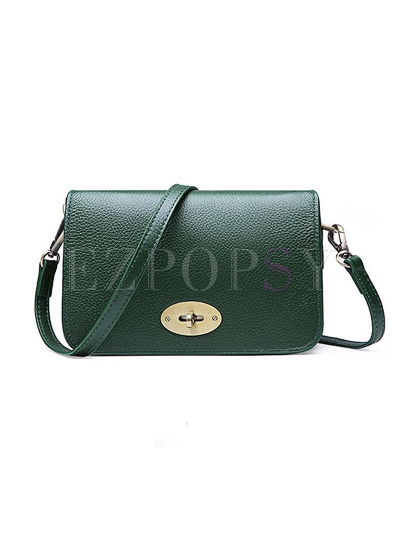 Brief Clasp Lock Cowhide Leather Crossbody Bag