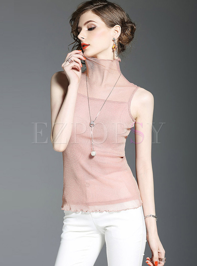 Sexy High Neck Sleeveless Elastic T-shirt