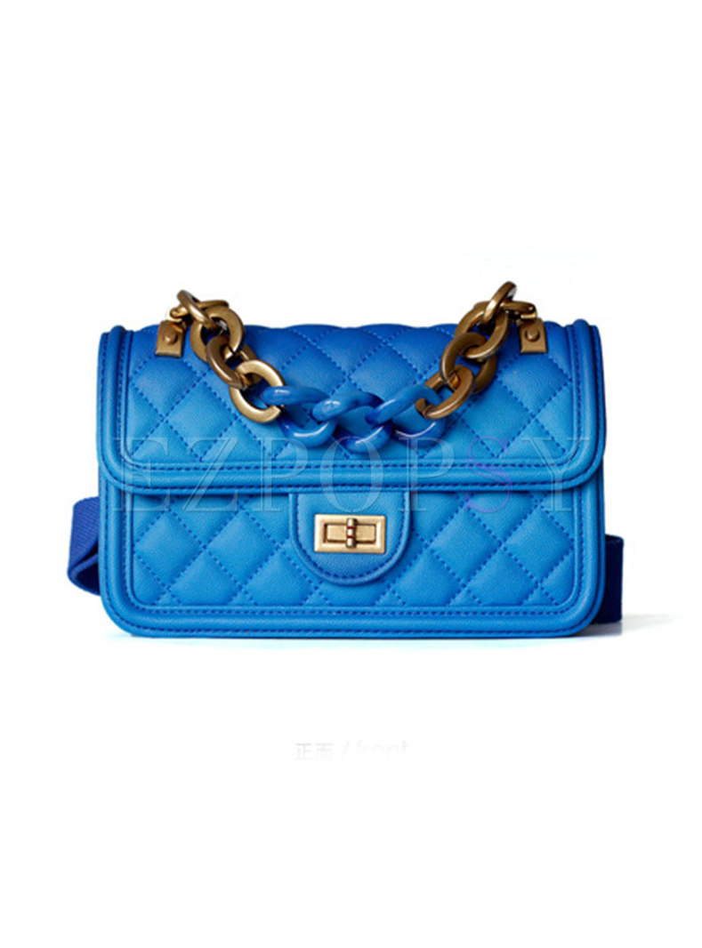 Chic Clasp Lock Leather Crossbody Bag