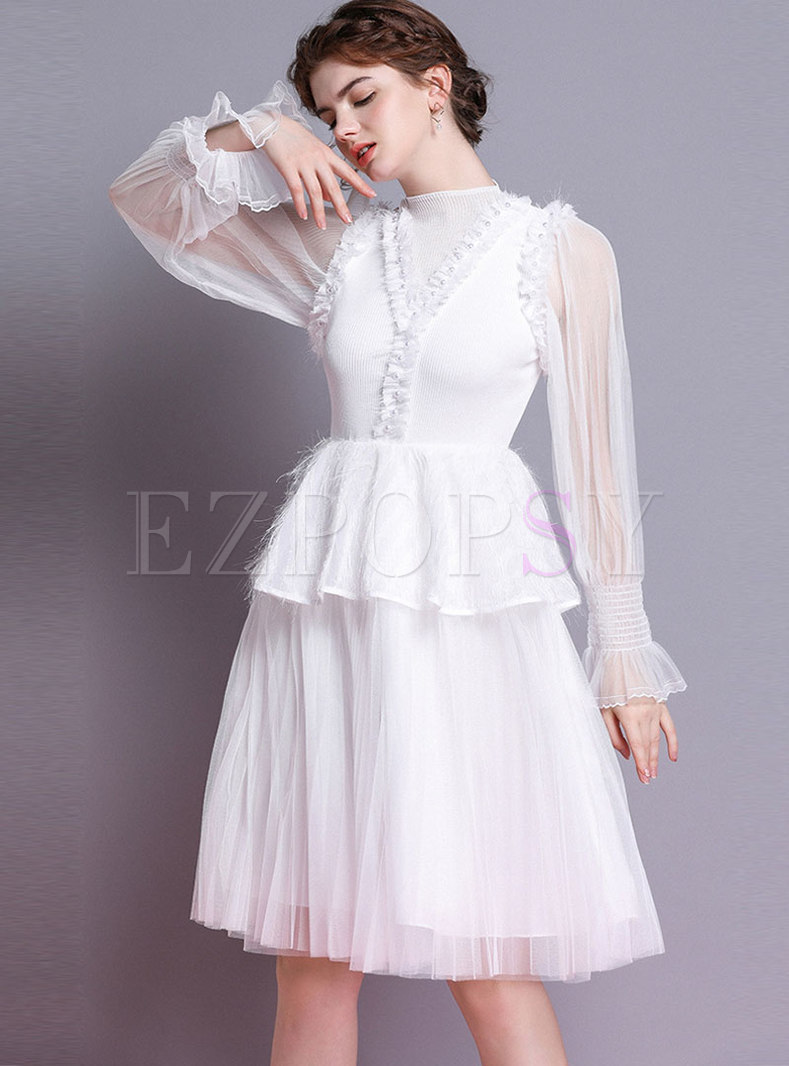 Chic Splicing Flare Sleeve Waist Skater Dress