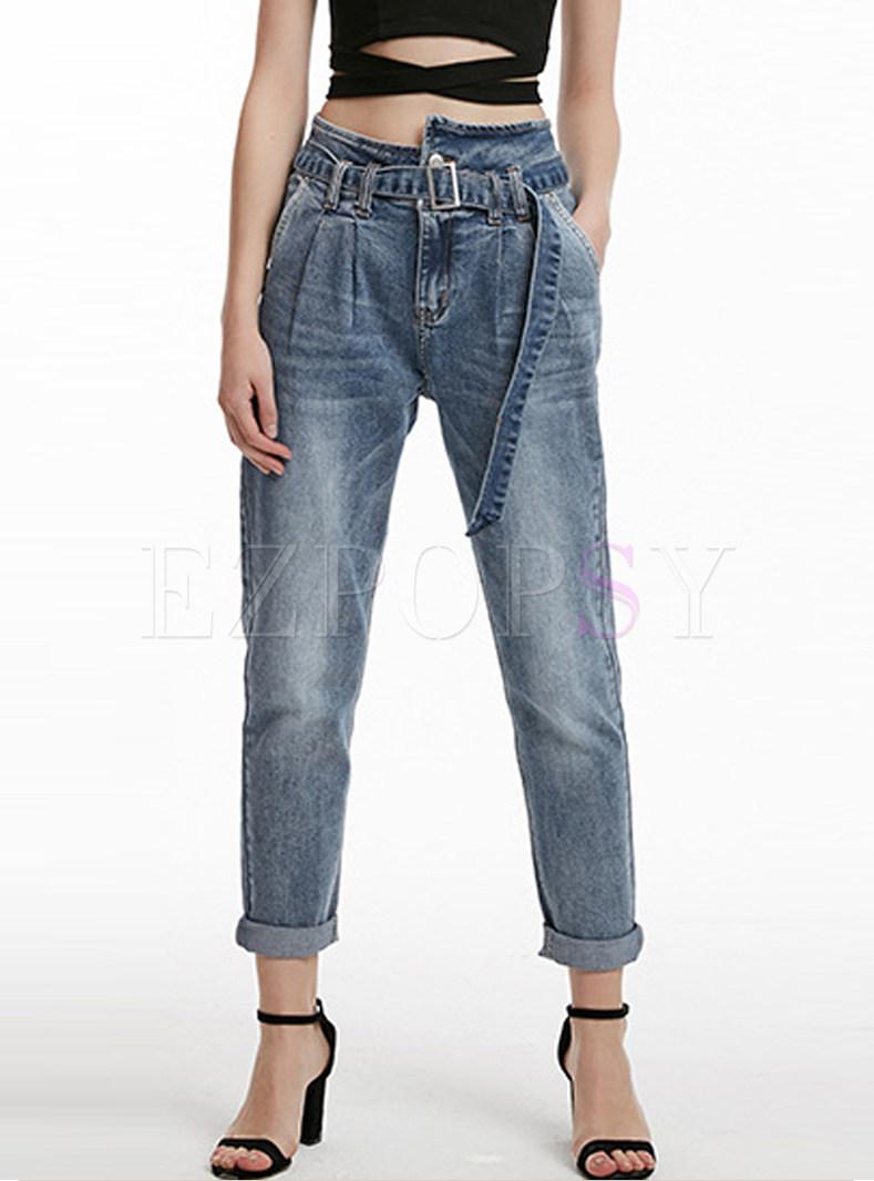 Casual High Waist Belted Harem Denim Pants