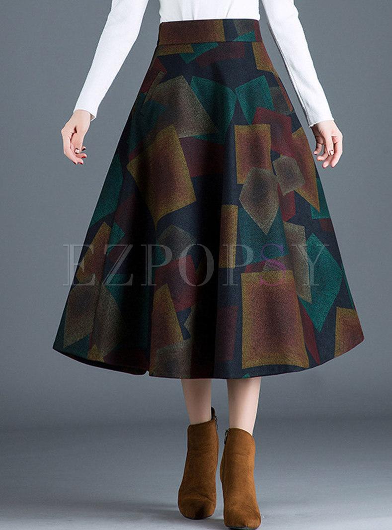 Vintage Color-blocked High Waist A Line Skirt