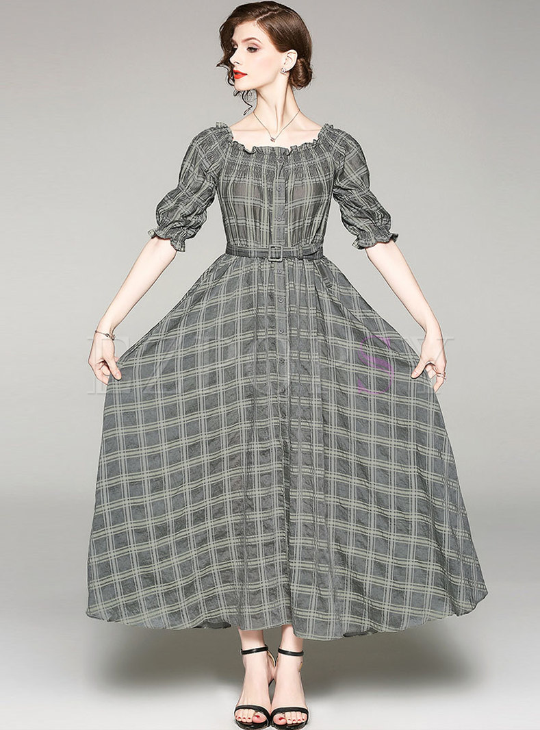 Plaid Slash Neck Belted Slim Maxi Dress