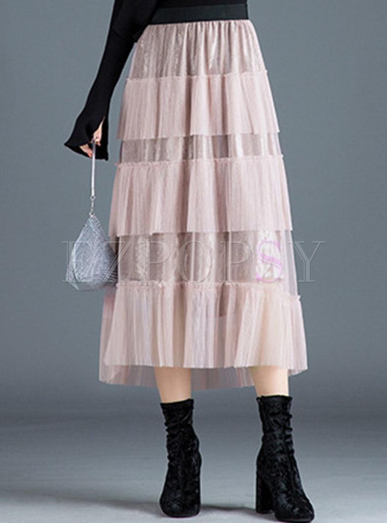 Sweet Splicing Elastic Waist Cake Skirt