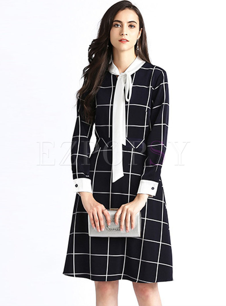 Stylish Plaid Tie-collar Waist Skater Dress