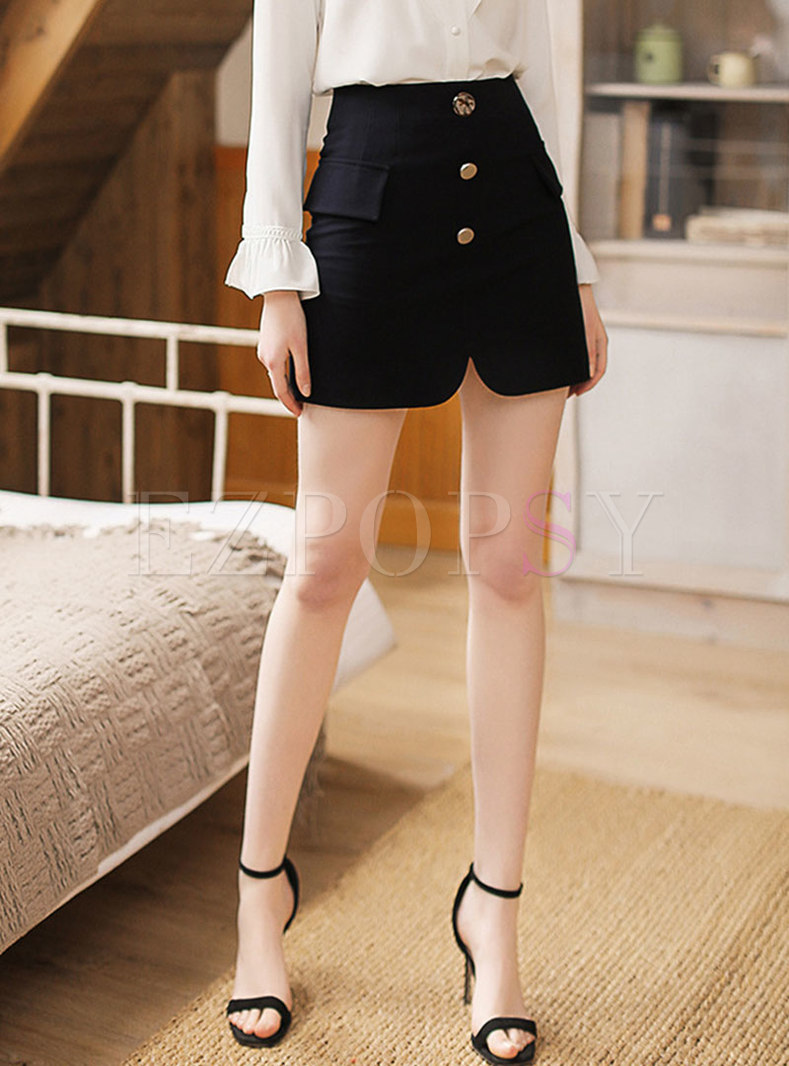 Stylish High Waist Slim Mini Skirt