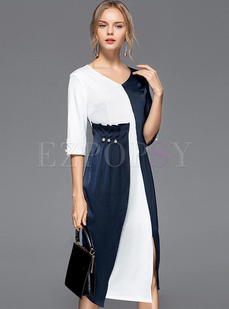 Color-blocked V-neck Waist Slit Bodycon Dress