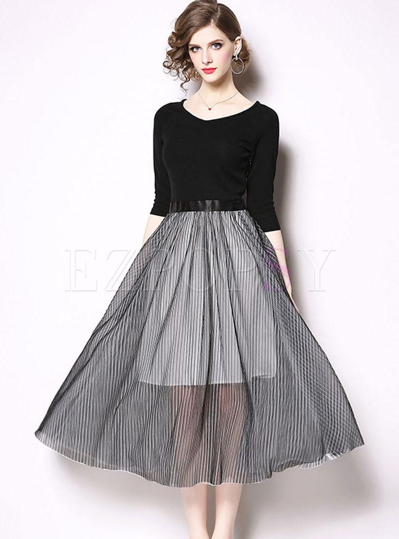 Three Quarters Sleeve Splicing Big Hem Dress