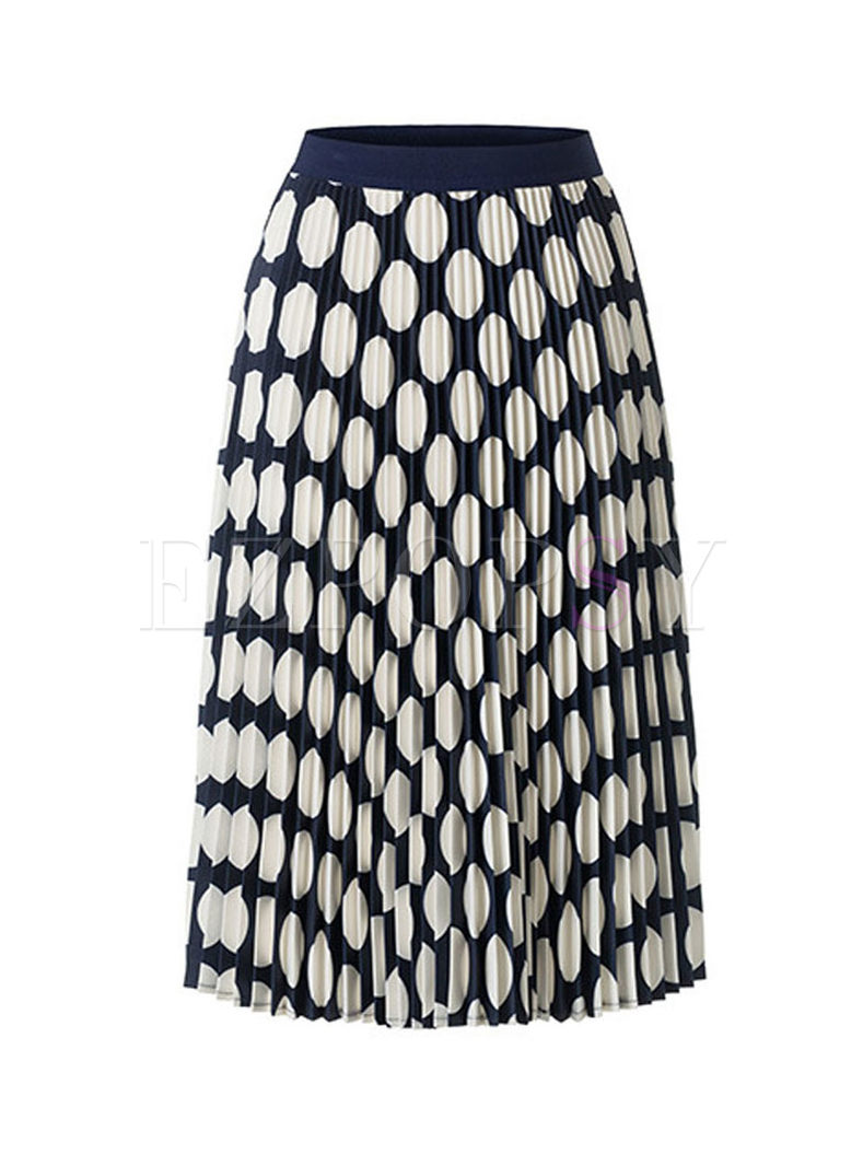 Casual Elastic Waist Polka Dot Skirt