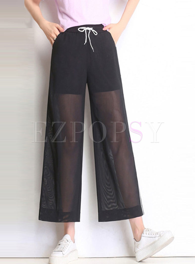 Perspective Mesh Splicing Wide Leg Pants