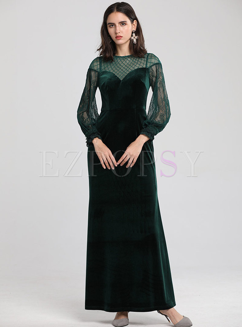 Sexy Velvet Splicing See-though Slim Maxi Dress