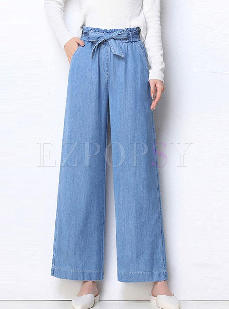 stylis Elastic Bowknot Waist Denim Pants