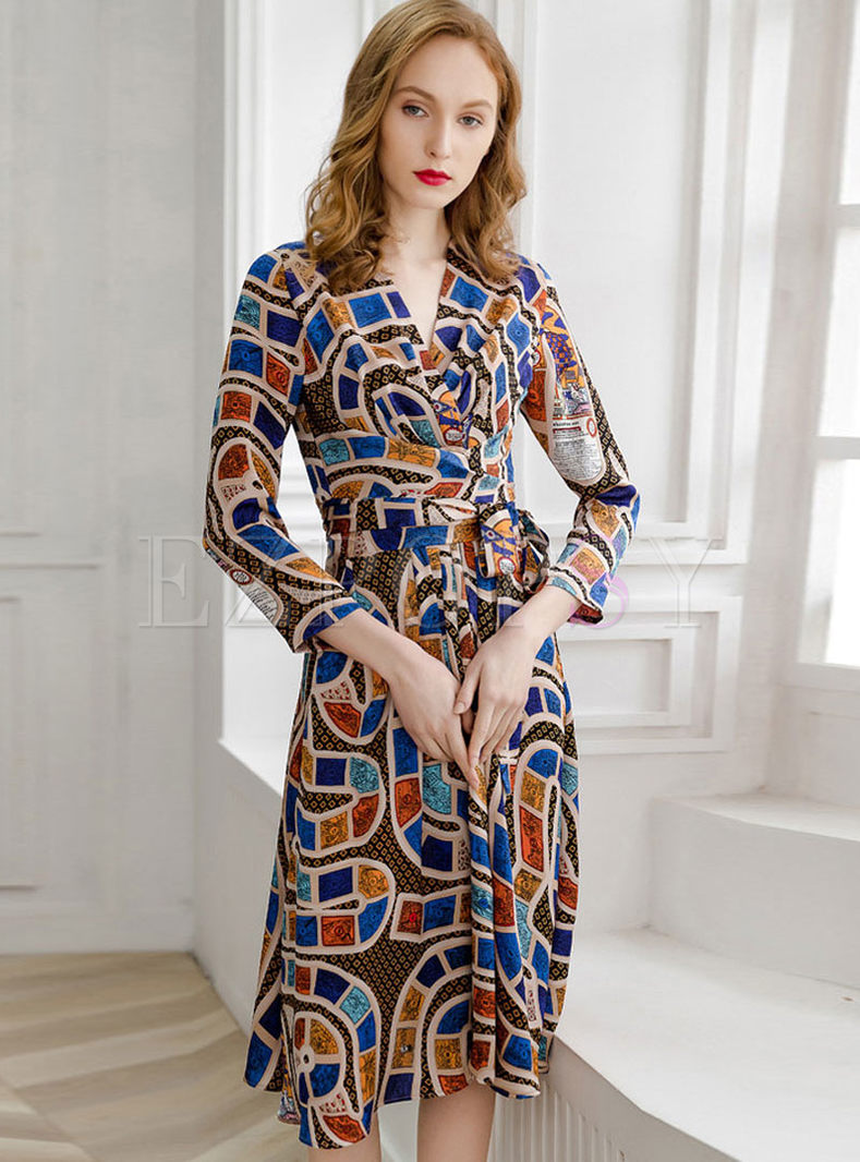 V-neck Long Sleeve Print Tie-Waist Dress