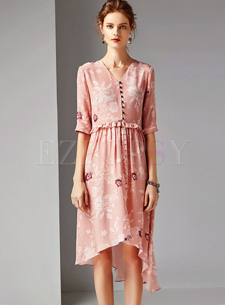 Print V-neck Half Sleeve Waist Asymmetric Dress