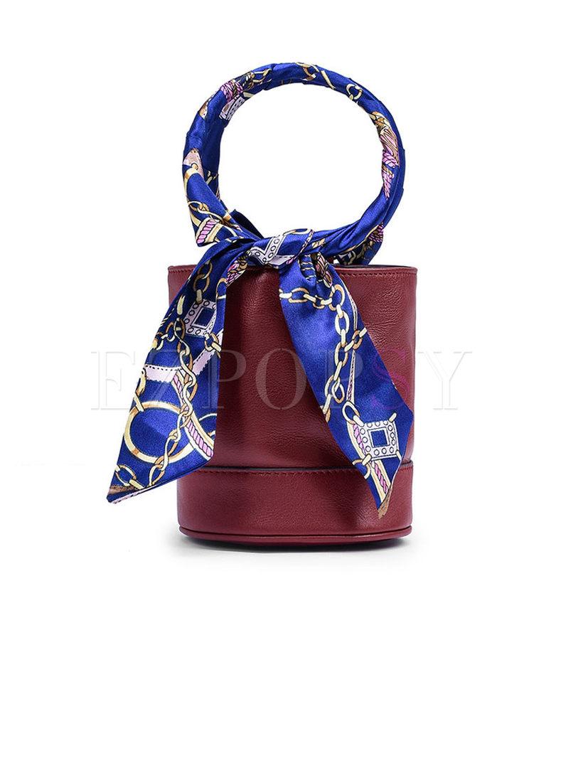 Color-blocked Mini Bucket Crossbody Bag
