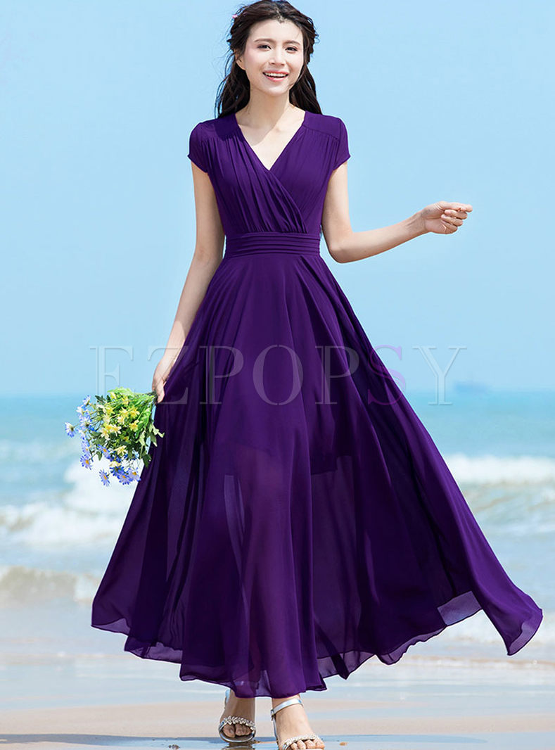 Brief Solid Color Waist Chiffon Beach Dress