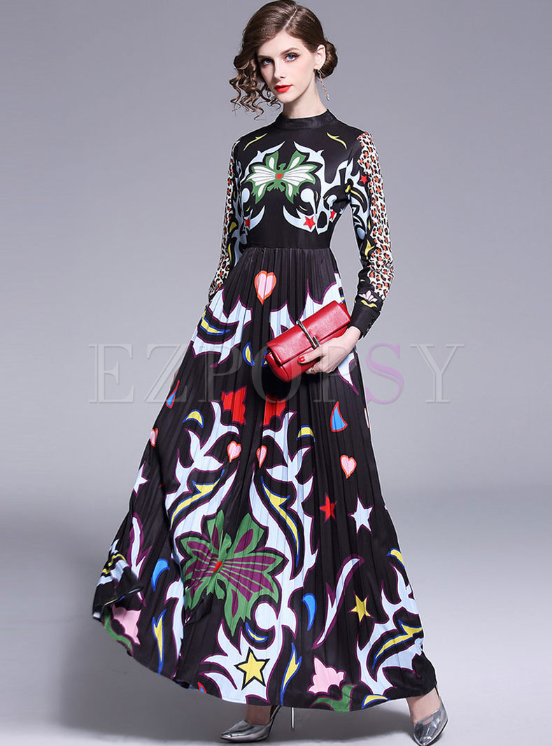 Vintage Long Sleeve High Waist Big Hem Print Dress