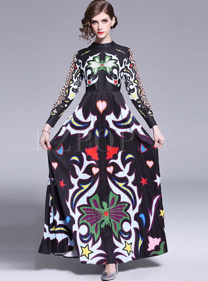 Vintage Long Sleeve High Waist Big Hem Print Dress