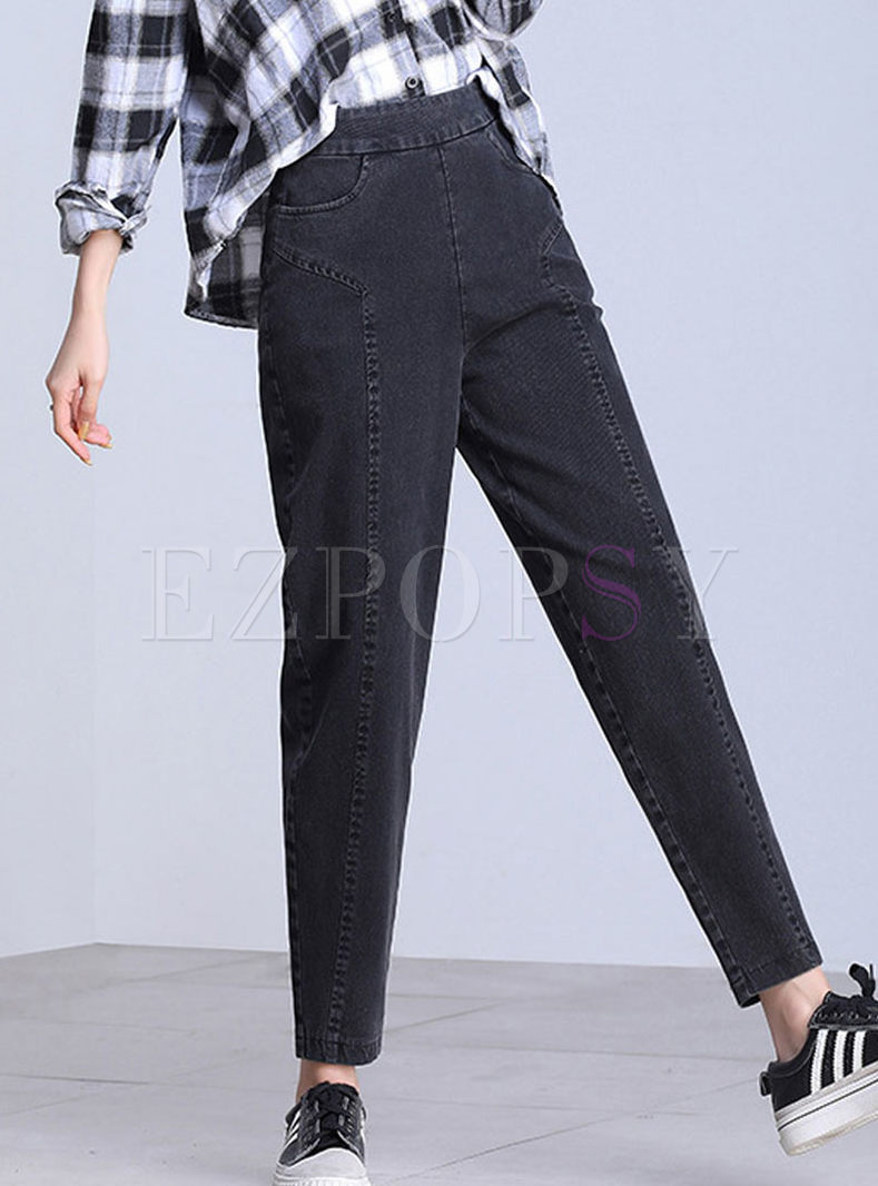 High Waist Solid Color Casual Pants