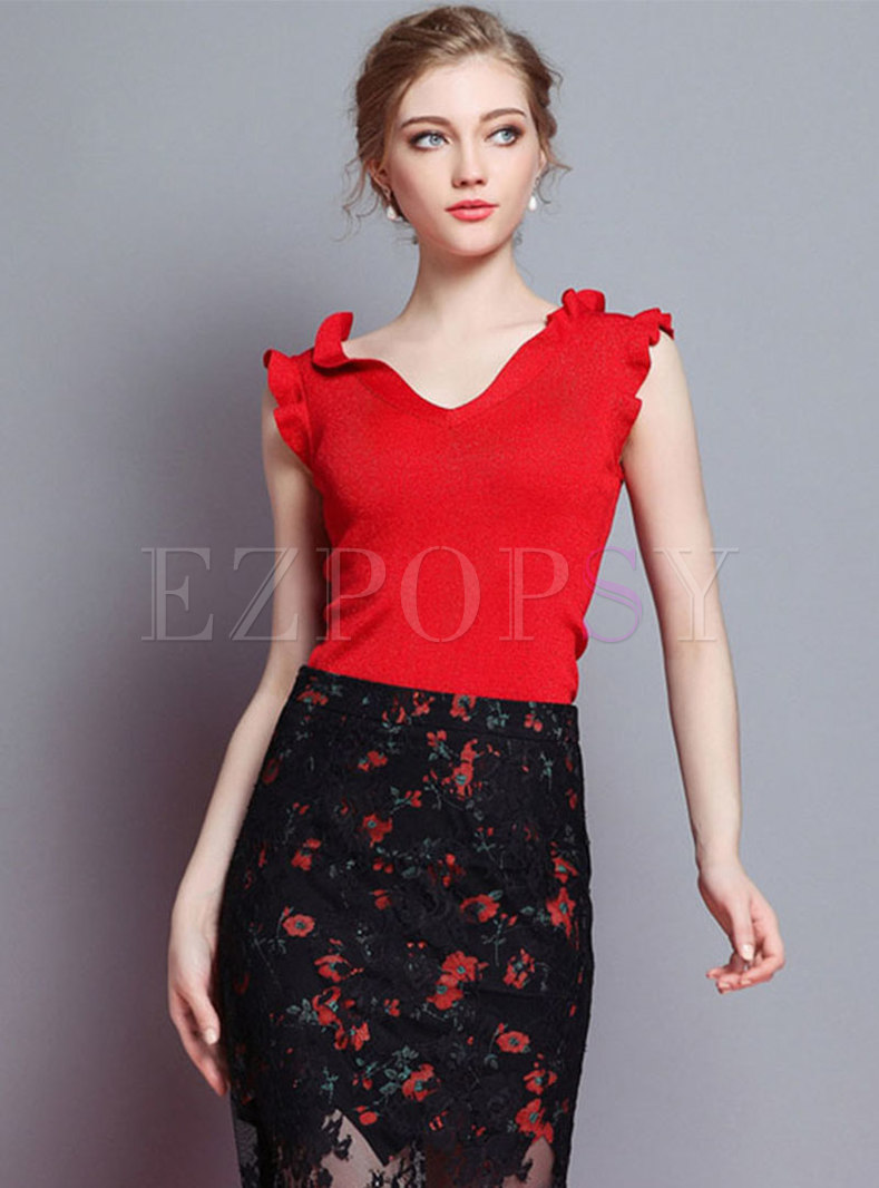 Pure Color V-neck Sleeveless Knitted Top