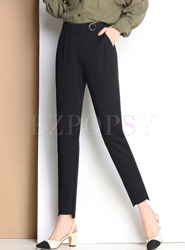 Stylish Black Elastic Waist Pants