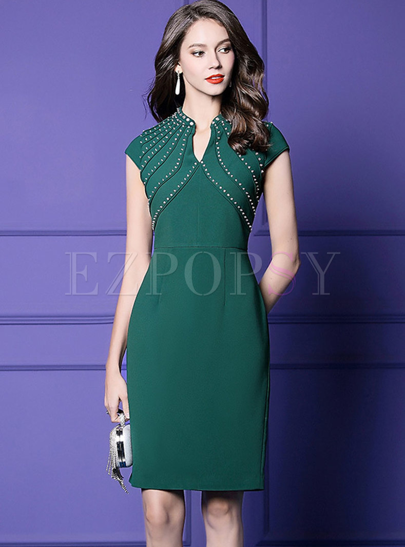Elegant Solid Color V-neck Drilling Sheath Dress
