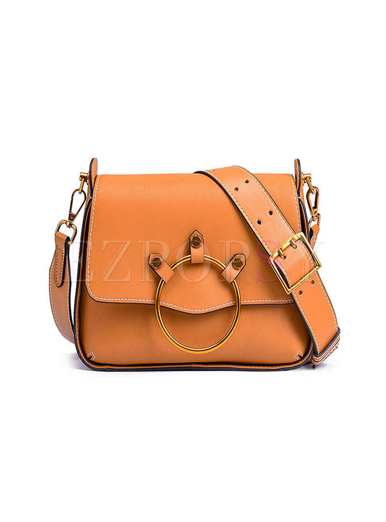 Solid Color Magnetic Buckle Crossbody Bag