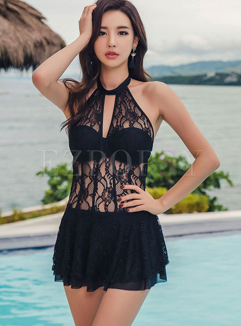 Fashion Halter Tied Perspective Swimwear