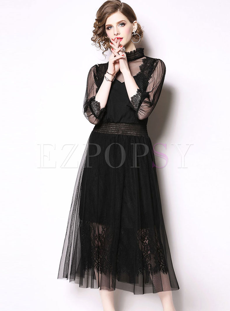 Mesh Patchwork Lace Party Maxi Dress