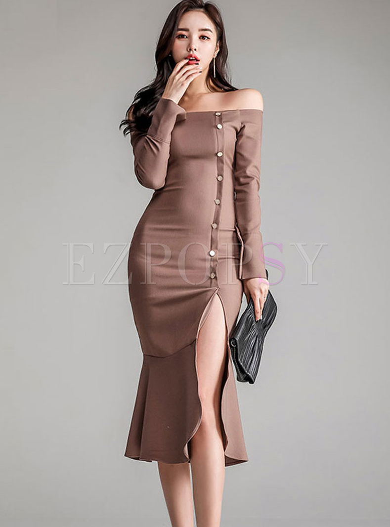 Sexy Slash Neck Slit Bodycon Dress