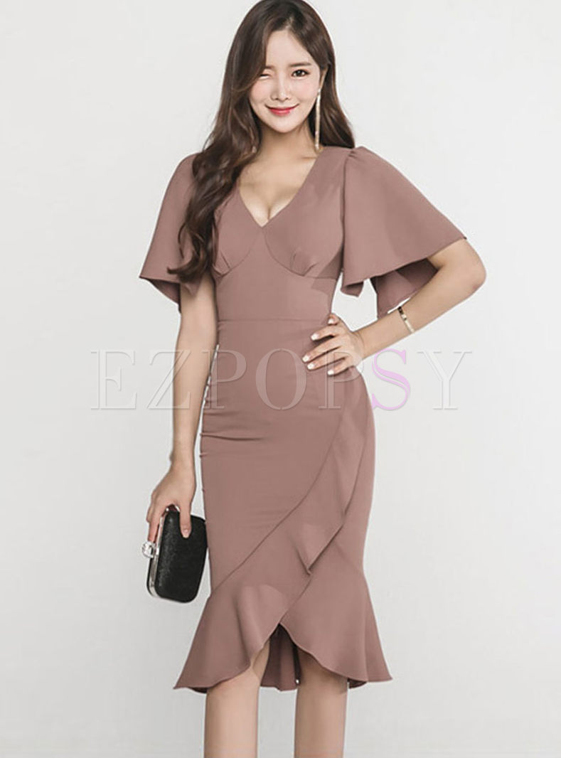 Deep V-neck Falbala Slim Mermaid Dress