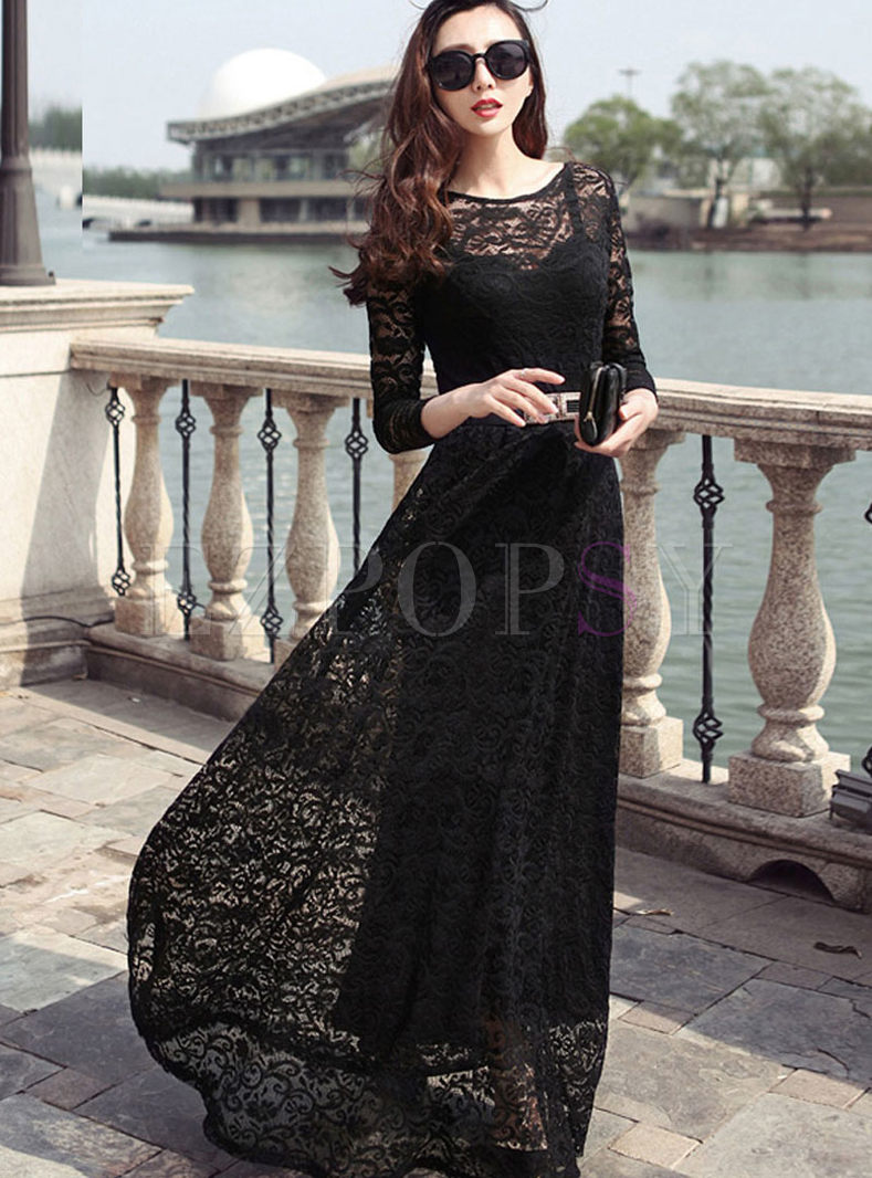 Sexy O-neck Long Sleeve Lace Maxi Dress