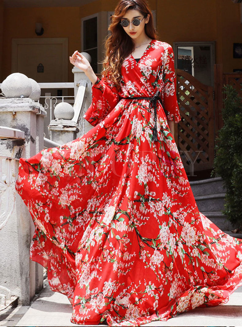 Bohemian Flare Sleeve Print Maxi Dress