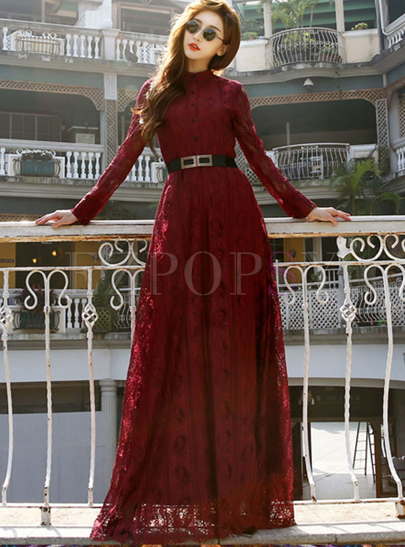 Long Sleeve Lace Openwork Belted Maxi Dress