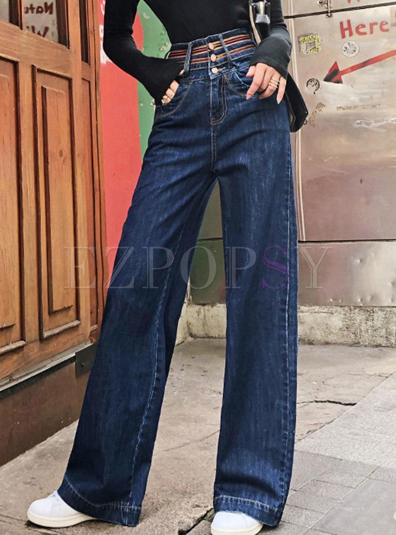 Stylish High Waist Denim Wide Leg Pants