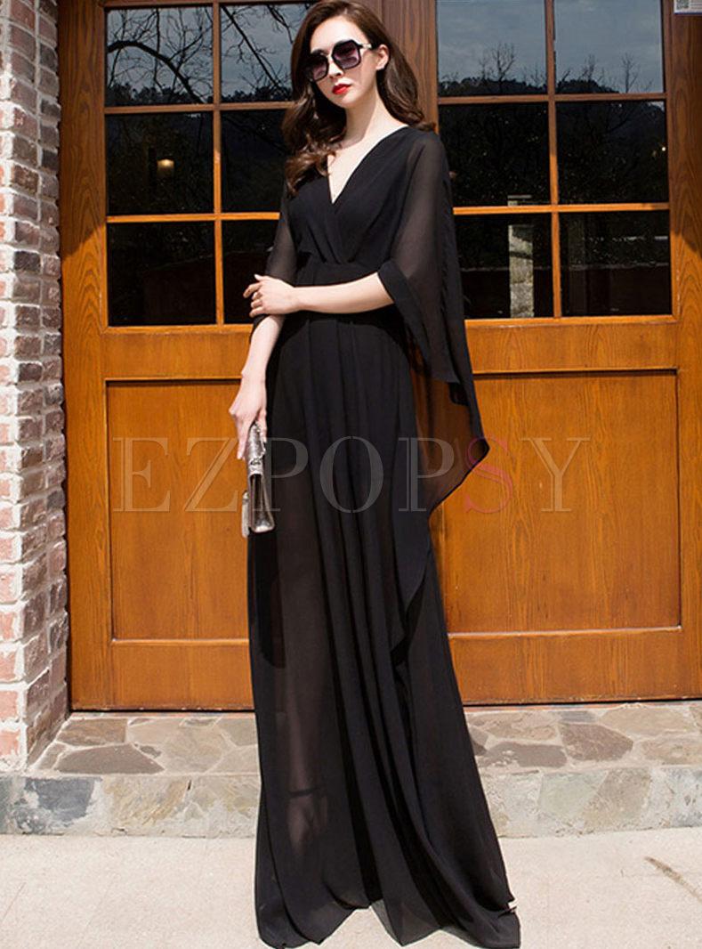Brief Solid Color V-neck Floor-length Dress