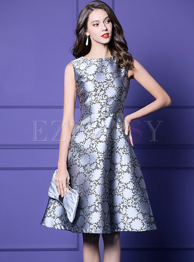 Elegant Print O-neck Sleeveless Skater Dress