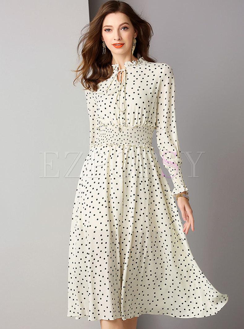 Polka Dot Gathered Waist Slim Skater Dress