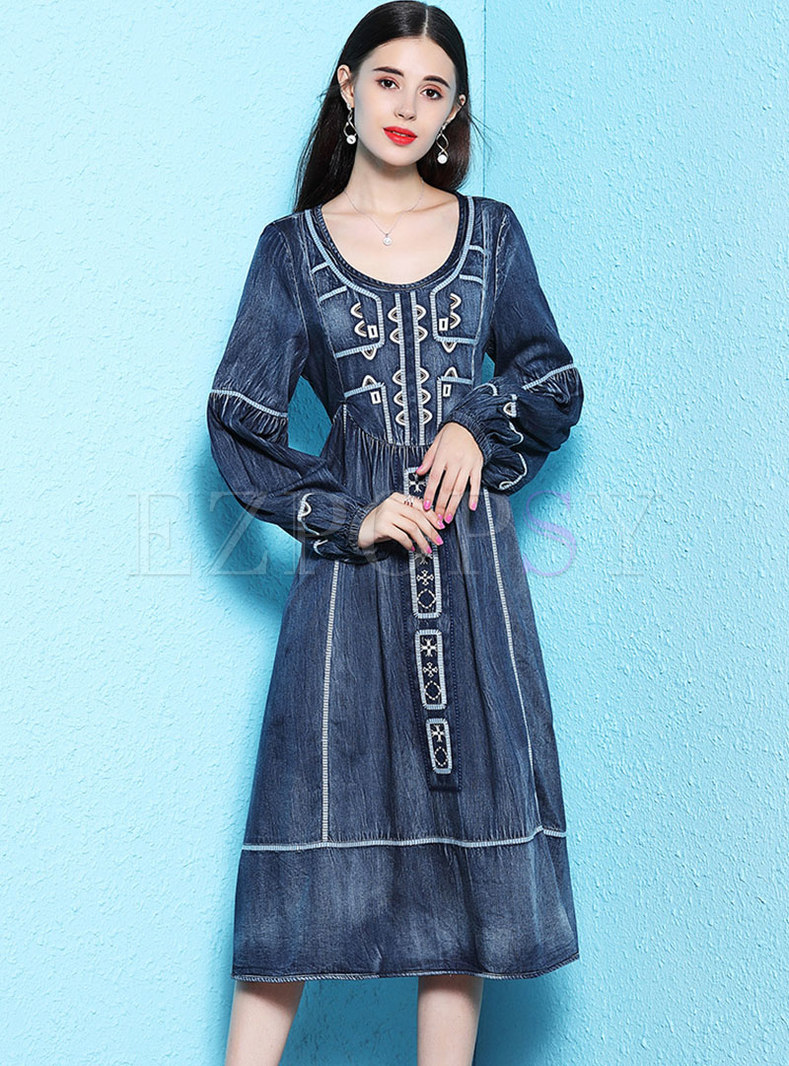 Denim Print Lantern Sleeve Waist Skater Dress
